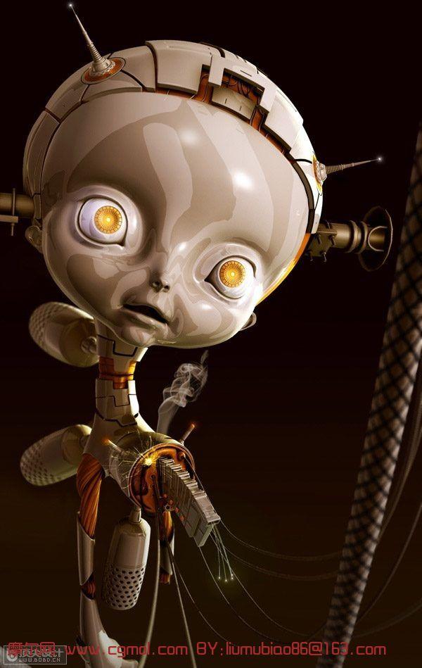 机器女孩maya模型 3ds max制作可爱的大眼睛的机器娃娃高清图片