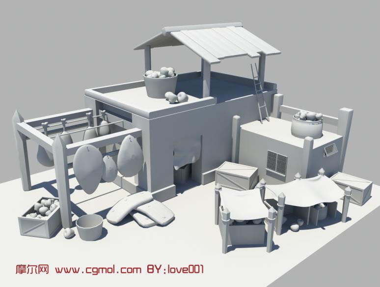 小房子maya模型,中式建筑高清图片