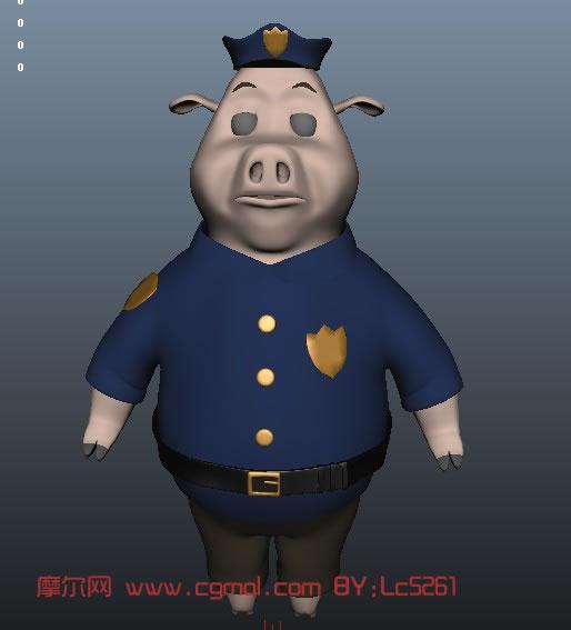卡通猪maya模型,哺乳动物