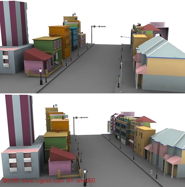 一个街道的maya场景模型 高清图片