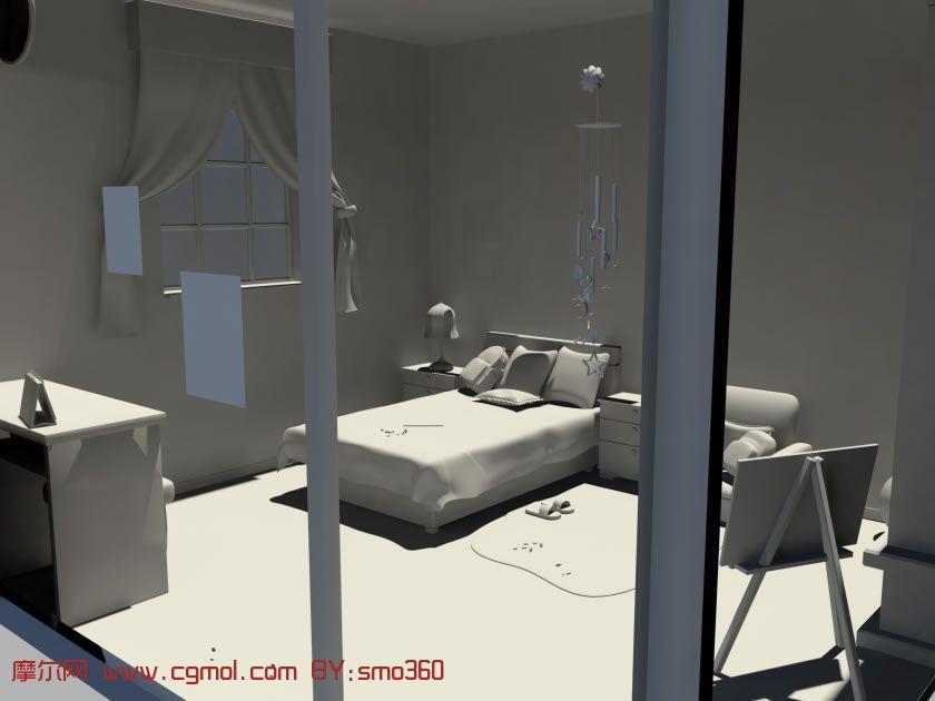 maya模型   (maya室内建模技术)maya   maya简易沙发模型,高清图片