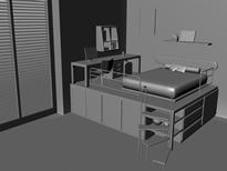 现代小居卧室设计maya模型