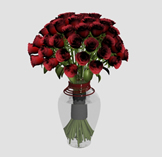 玫瑰花,插花3D模型