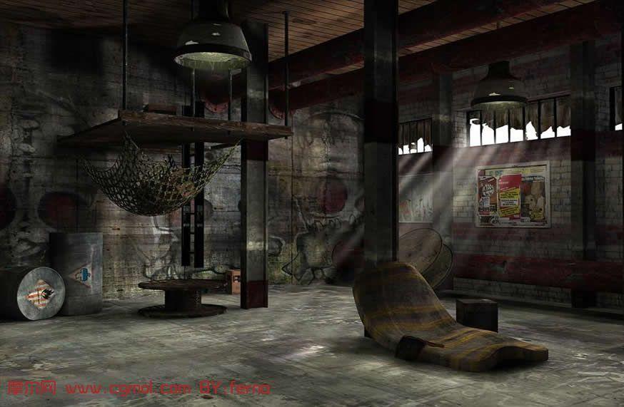 转载作品 废弃工厂内部场景3D模型