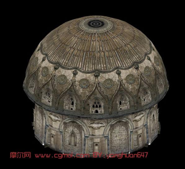 圆顶城堡建筑3d模型,古代场景