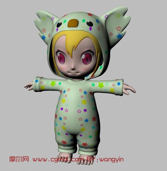 可爱的小女孩,小萝莉,可爱娃娃maya模型