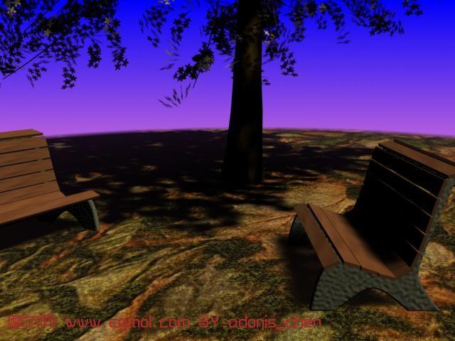 黄昏下的休息椅子,大树场景3D模型