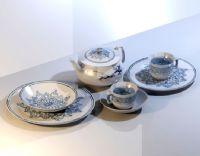 青花瓷器,茶壶,茶杯,碟子3D模型