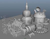 卡通建筑,卡通院落,院子maya模型