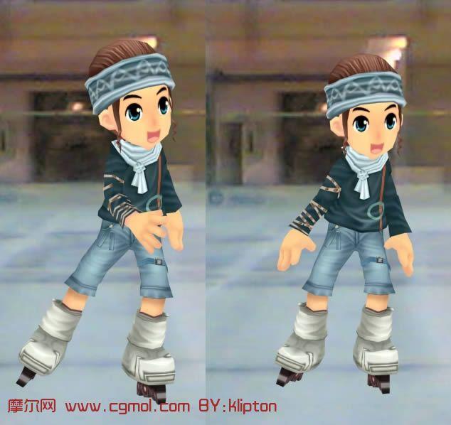 溜冰的小男孩3D模型