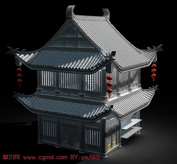 古代酒楼,豪华民宅,古代建筑3d模型