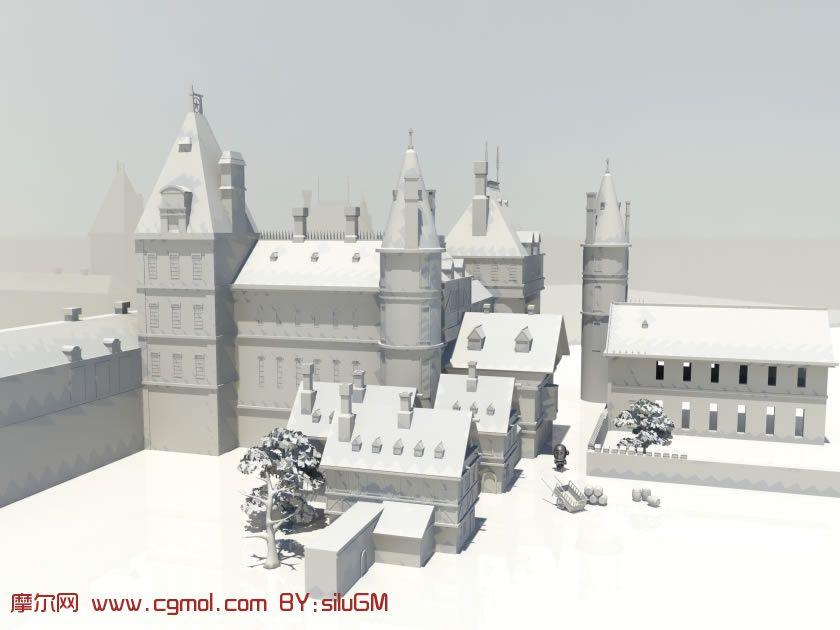 一个小镇,城镇场景maya模型图片