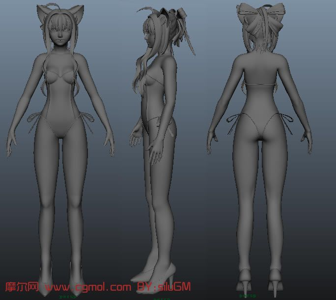 着泳装的可爱精灵族女孩maya模型 高清图片
