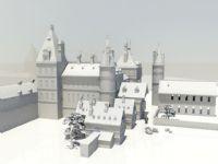 一个小镇,城镇场景maya模型