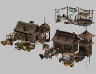 古代驿站,酒楼,旅店,3D游戏场景模型