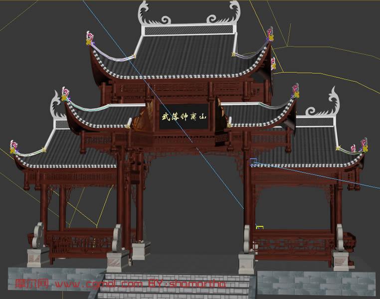 3d建模max室外场景图片; 古牌楼3d模型(max格式-含贴图),古代场景