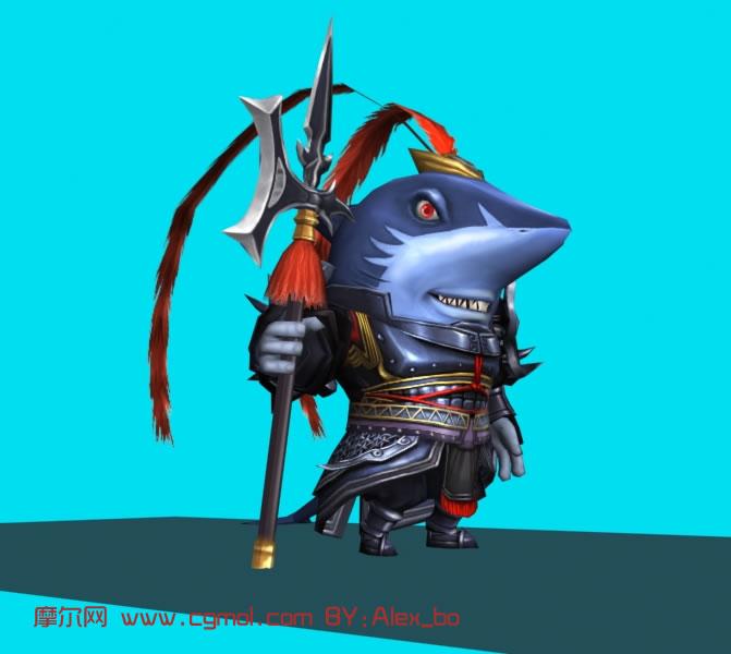 动物鲨鱼模仿三国人物吕布3d模型