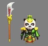 动物熊猫模仿三国人物关羽3D模型