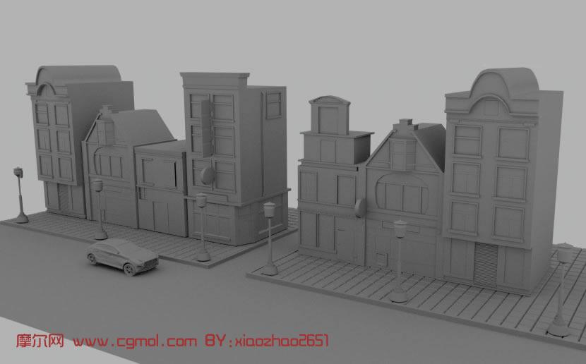 现代街道场景maya模型 高清图片