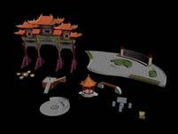 公园,广场构建,素材,建筑3D模型