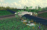 花朵,青草,小树,小桥流水,3D自然场景模型