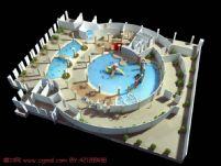 水上乐园,游泳池,游泳馆,大型场景建筑3D模型