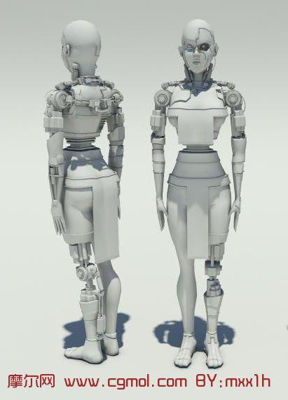 高精度女机器人3D模型
