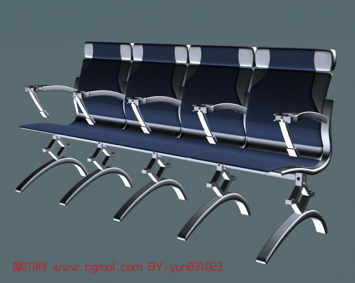 银行公共座椅3d模型,室内家具