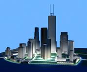 未来城市,CBD商业区,写字楼,建筑群,大厦3D模型