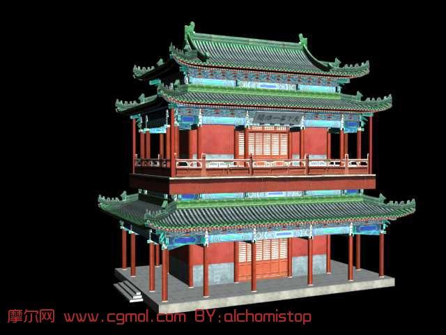 古建阁楼,古代建筑3d模型