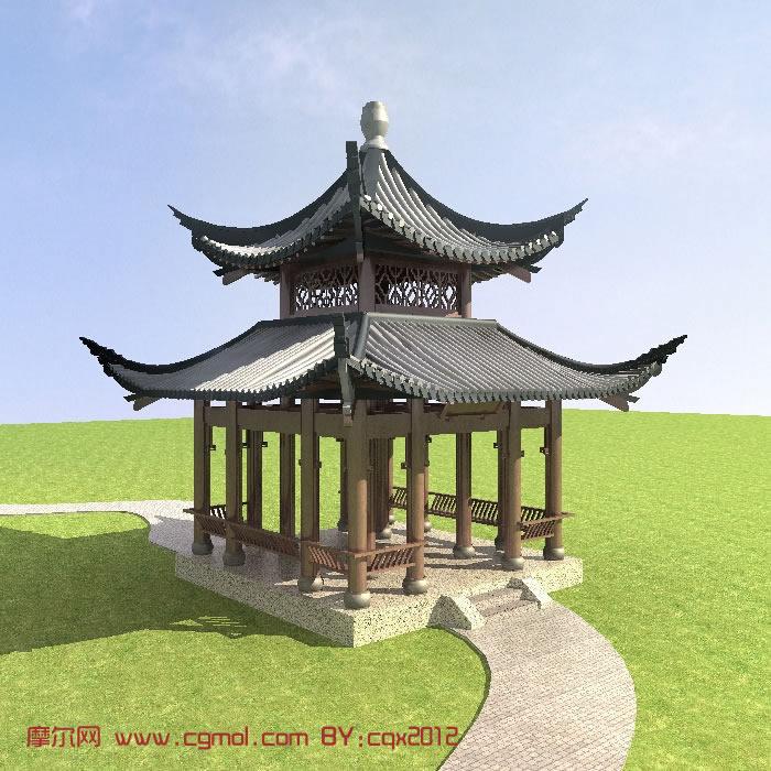 中式凉亭,亭子3D模型