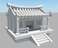 中式古典卡通房子maya模型