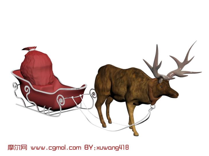 驯鹿拉雪橇3d模型