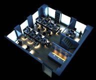 现代小型办公室3D模型