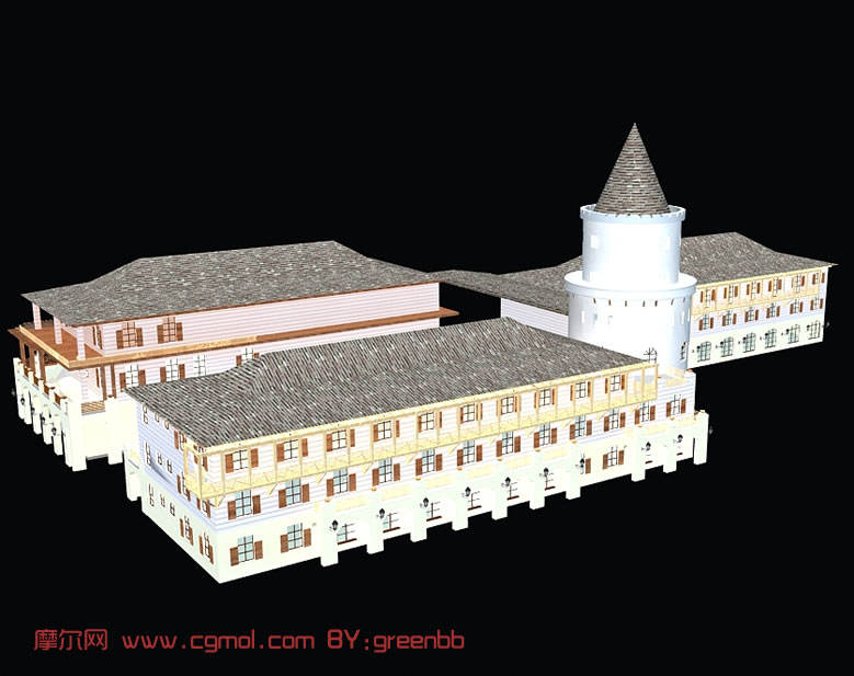 葡萄酒庄,3D建筑模型