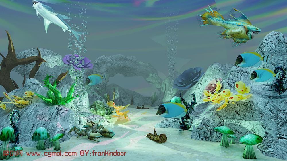 海底世界海马简笔画完整画展示