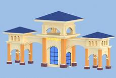 小区大门口效果3D模型
