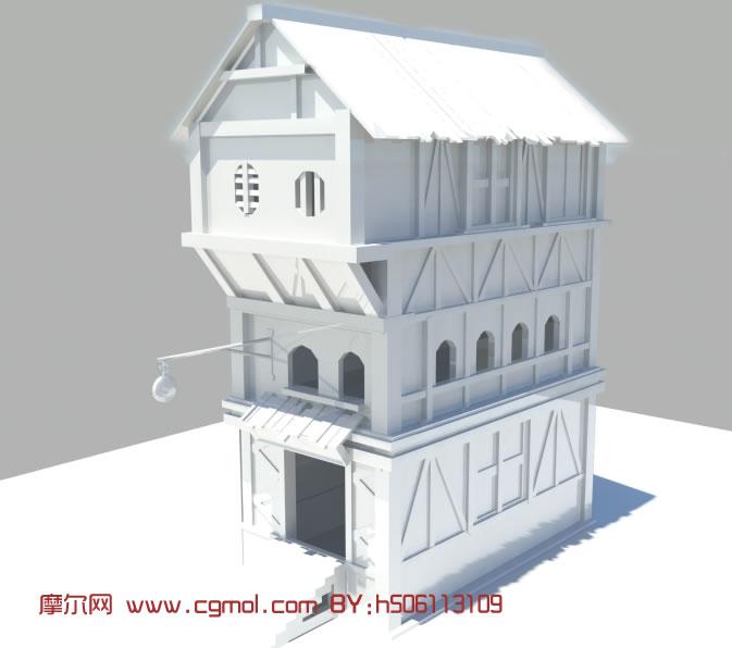 模型 中式 建筑 小屋 房子高清图片