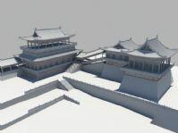 高精度古代楼阁建筑,寺庙建筑Maya模型