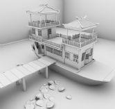 停靠在码头的游船maya模型