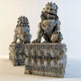 精致石雕狮子3D模型(贴图齐全)