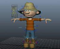 做好绑定的maya卡通小男孩模型