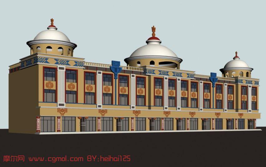 蒙氏楼,蒙氏建筑,古代建筑3d模型图片