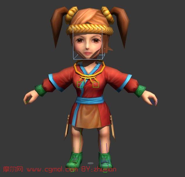 游戏中的卡通小女孩3d模型(带骨骼)