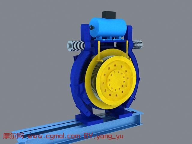 电梯曳引机,牵引机3D模型