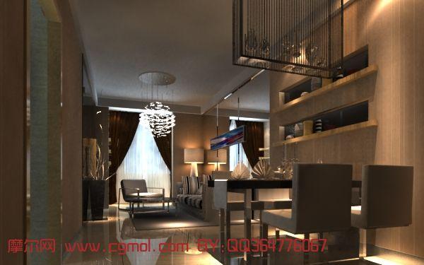 室内小户型客厅3d模型