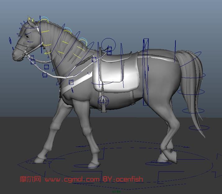 战马maya模型(绑定,走路动作)