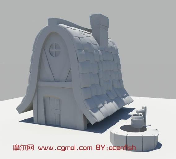 卡通房子,水井maya模型, 科幻场景 , 场景 模型,3d高清图片