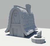 卡通房子,水井maya模型