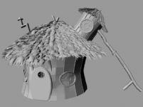 高精度卡通茅草屋maya模型